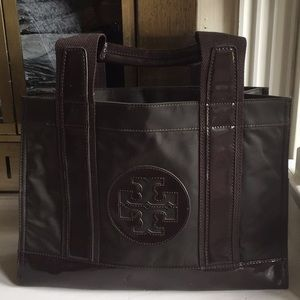Tory Burch chocolate brown canvas patent tote